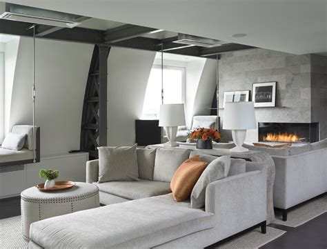 living rooms with ottomans new york modern gas fireplace with storage ottomans living
