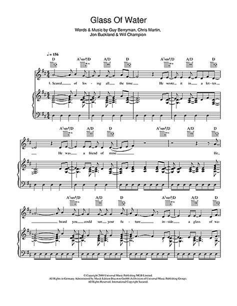 download mp3 coldplay glass of water glass of water sheet music by coldplay piano vocal