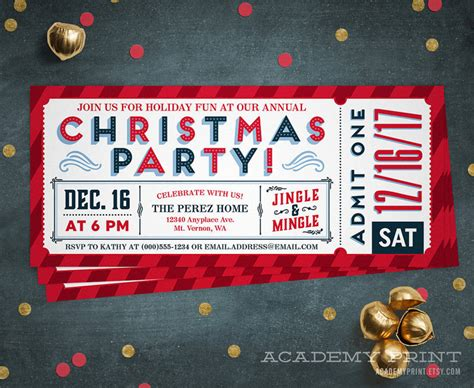 christmas party ticket invitation printable holiday party