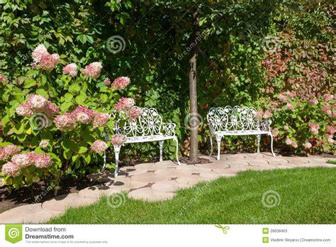 white garden benches white garden benches stock photos image 26638463
