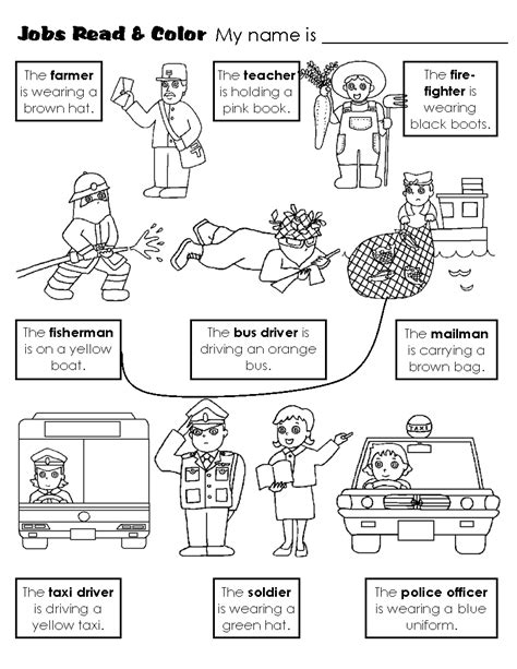 kindergarten activities jobs free coloring pages of occupations worksheet