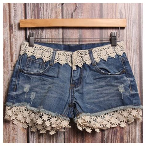 Embroidery Denim Shorts shorts embroidered accent fringes denim shorts