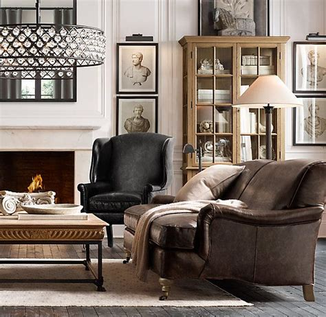 restoration hardware brown leather couch barclay leather sofas wall prints of busts amazing drum