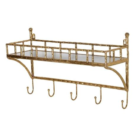 Shelf With Hooks by Gold Bamboo Wall Shelf With Coat Hooks Mulberry Moon