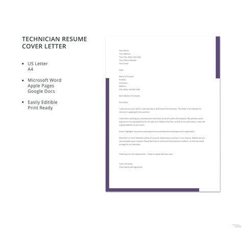technician resume cover letter template microsoft