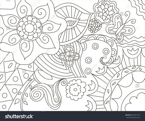 watercolor coloring book for adults painting anti stress coloring page stock vector