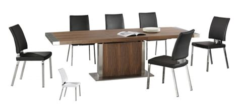 modern large walnut wooden extending dining table chairs