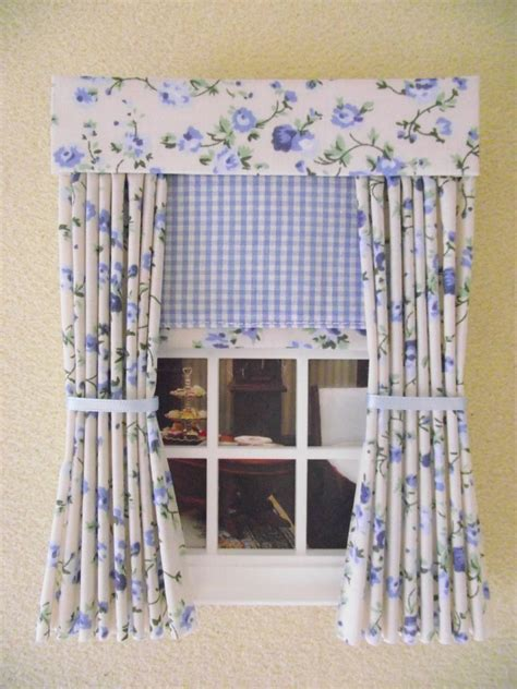 dolls house curtains miniature doll house curtains drapes blue floral blind 12cm 4 3 4 quot wide ebay