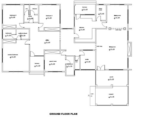 home design plans ground floor 4 bedroom house plan for african countries