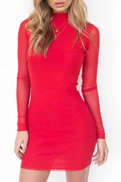 Regxy Plain Bodycon Mini Dress high neck sheer sleeve simple plain bodycon mini