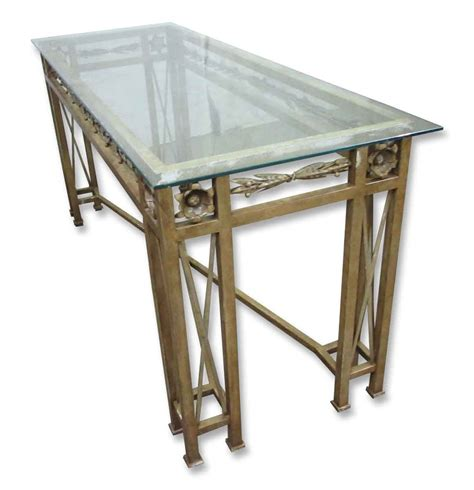 glass top console table wrought iron console table with glass top olde things