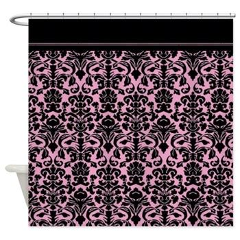 pink and black shower curtain damask shower curtains oh so girly