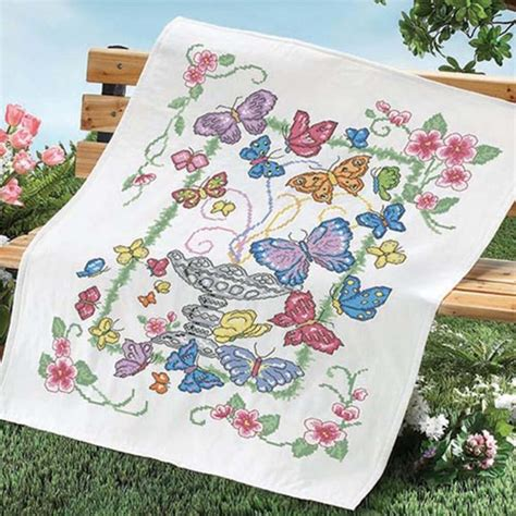 Cross Stitch Quilt Top by Herrschners 174 Butterfly Garden Quilt Top Sted Cross