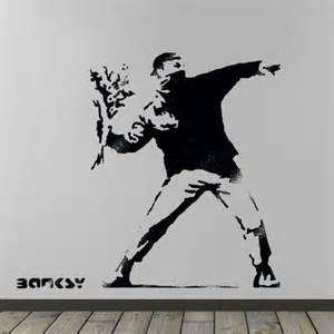 banksy flower thrower stencil huge life size wall art