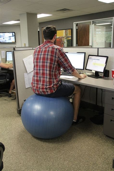 sitting on exercise ball at desk fun and fitness with the freightpros a bouncing health