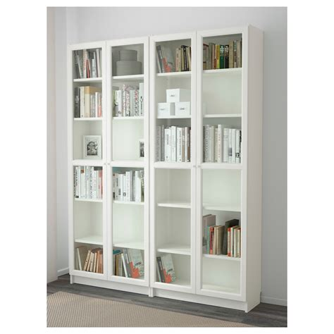 Billy Oxberg Bookcase White Glass 160x202x30 Cm Ikea Ikea Bookcases With Glass Doors