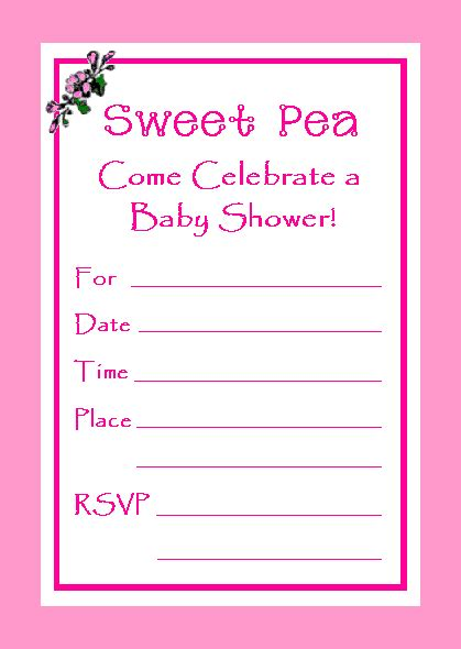 Free Sweet Pea Baby Shower Invitations by Free Sweet Pea Invitation For You To Print Which Is