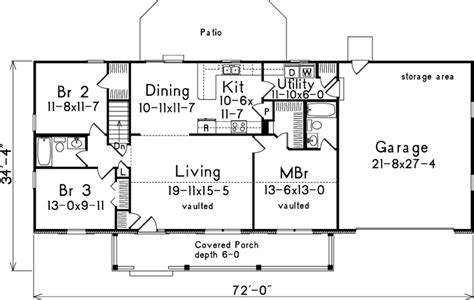 Country Style House Plans 1400 Square Foot Home 1 1400 Square Foot House Plans Without Garage