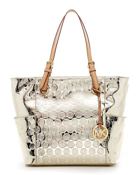 michael kors jet set monogram signature item tote pale