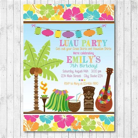card template hawaian birthday jazlyn tiki luau invitation luau invite luau hawaiian