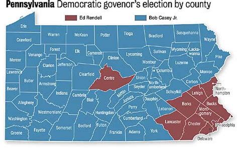 the democratic primary vote for governor, county by county