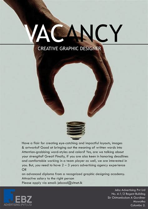 graphics design recruitment agency creative graphic designer job vacancy in sri lanka
