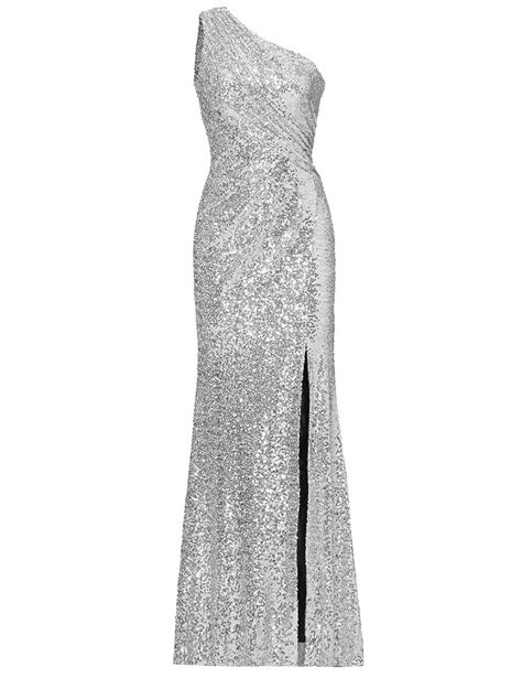 Bridesmaid Dress Evening Party Gown Sequins One Shoulder Side Split Long Sparkly Silver US10