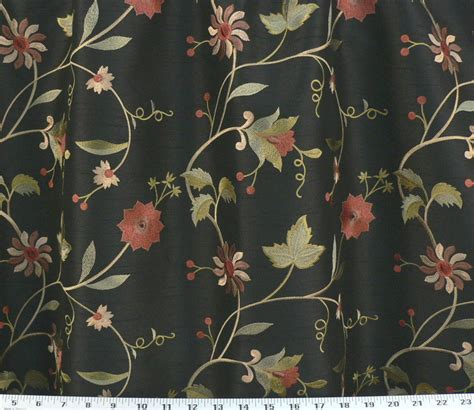 black floral upholstery fabric drapery upholstery fabric embroidered floral faux silk