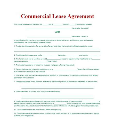 Basic Commercial Lease Agreement Template Free 26 Free Commercial Lease Agreement Templates Template Lab
