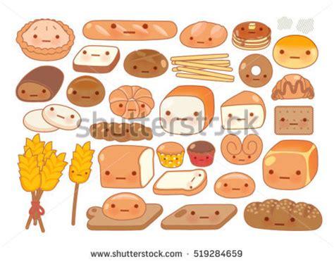 food doodle bread collection lovely kawaii emoticon emoji stock vector