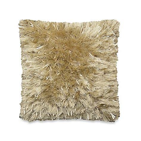 ribbon shag throw pillow in taupe bedbathandbeyond com