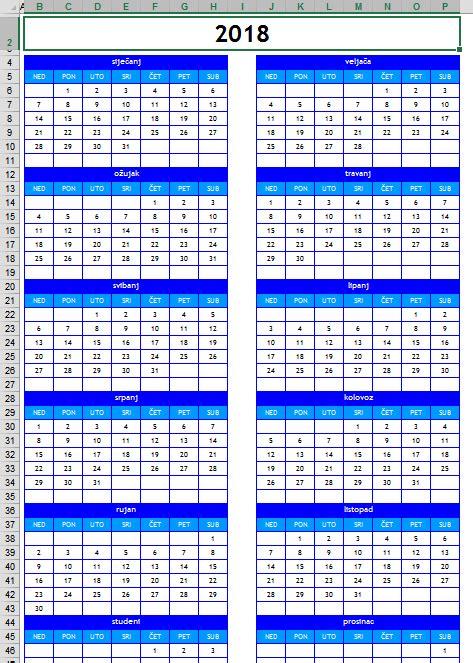 Kalendar S Blagdanima 2018 Kalendar 2018