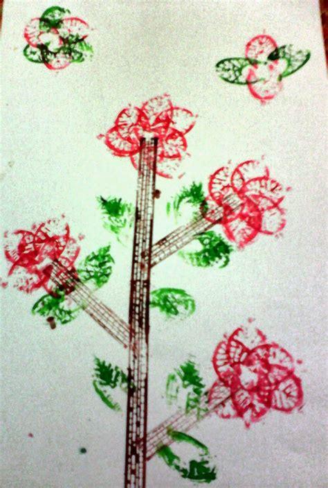 Stempel Tema Buah tugas seni rupa seni cetak tinggi untuk anak sd
