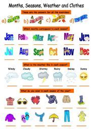 clothes for different seasons worksheet english worksheets