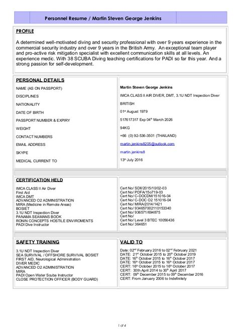 Professional Profile Resume Sample by Martin Steve George Jenkins Imca Class 2 Dive Cv