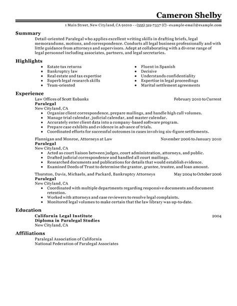 Example Of Secretary Resume by Paralegal Resume Example Law Sample Resumes Livecareer