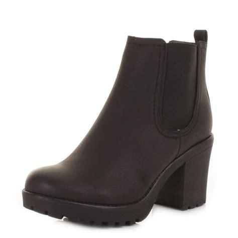 womens platform chunky heel heeled pull on chelsea ankle