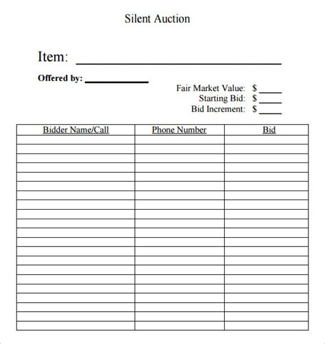 Auction Bid Sheet Template Free by Silent Auction Bid Sheet Template 9 Free