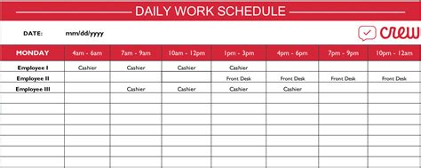 employee daily work schedule template free daily work schedule template crew