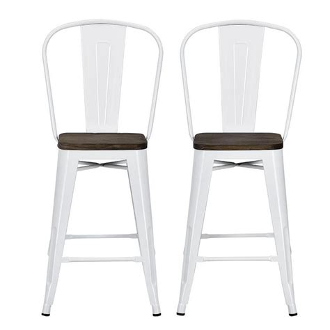Seat Counter Stools 24 by Dhp Lena 24 In White Metal Counter Stool With Wood Seat