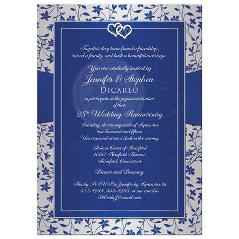 25th wedding anniversary invitation royal blue silver