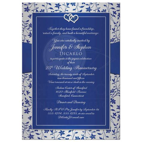 25th Wedding Anniversary Invitation   Royal Blue, Silver