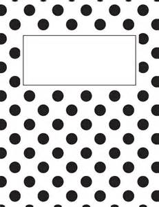 printable black and white polka dot binder cover
