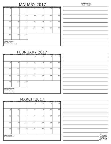 printable calendar 2017 three months per page 3 month calendar 2017