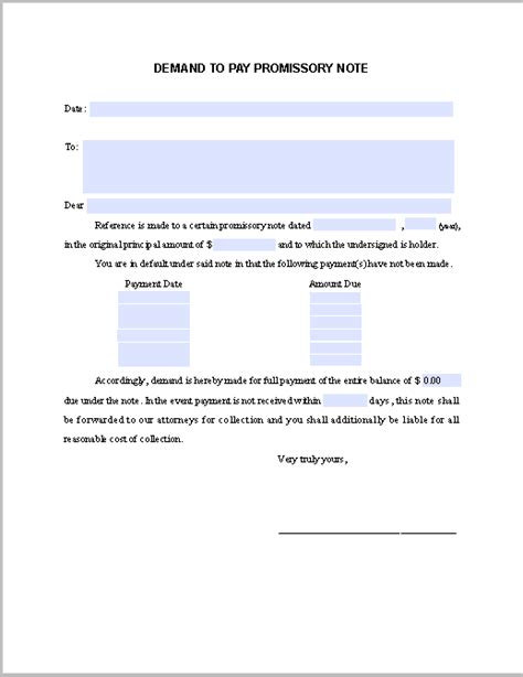 california promissory note template demand notice to pay promissory note free fillable pdf forms