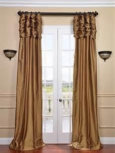 Silk Sari Curtains Ruched Brown Gold Thai Silk Curtain Traditional