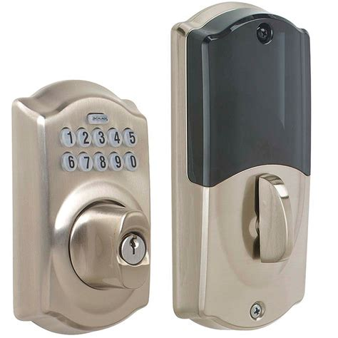 Wifi Front Door Lock Schlage Be369 619 Schlage Link Wireless Z Wave Keypad Deadbolt Satin Nickel Home