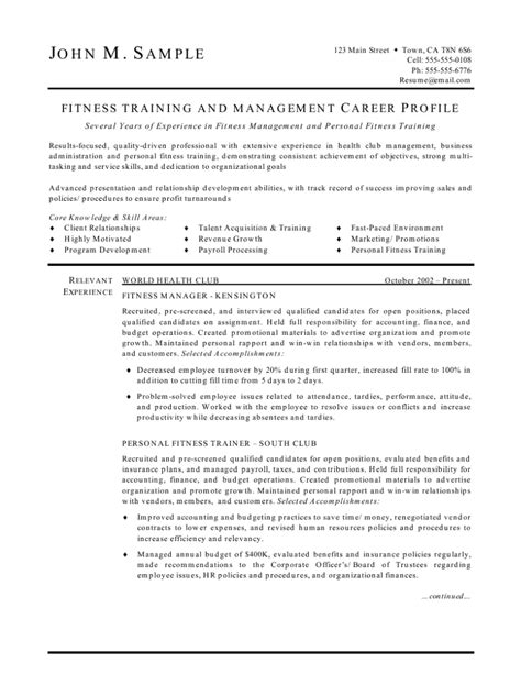 Fitness Center Manager Sle Resume fitness trainer and manager resume