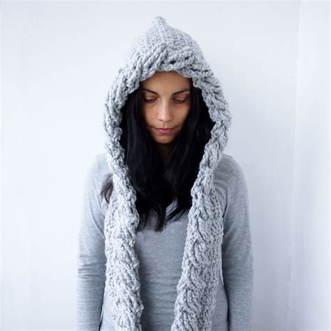 crochet pattern hooded scarf cable pixie bulky