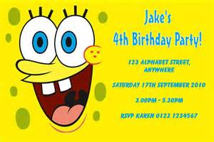 personalised spongebob squarepants invitations
